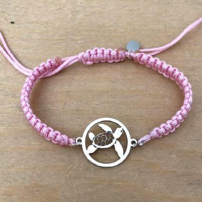 bracelet jeton Tortue argent 925/1000 cordon marin