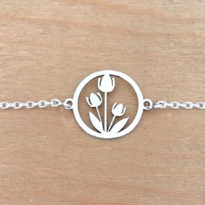 Bracelet sur chaîne  Argent 925 - Tulipes