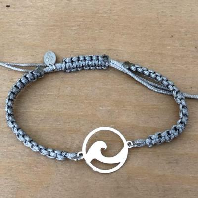 bracelet jeton Vague argent 925/1000 cordon marin