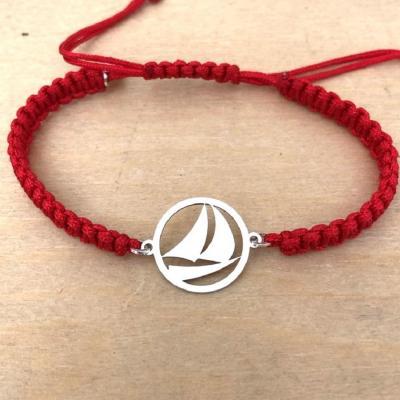 bracelet jeton Voilier argent 925/1000 cordon marin